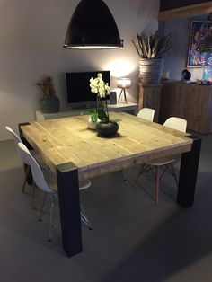 Square Dining Tables Ideas For Your Modern Dining Room. Metal Dining Table, Square Dining Tables, Dining Room Table, Wood Table, Outdoor Dining, Dining Rooms, Yellow Living Room Furniture, Yellow Dining Room, Dining Furniture