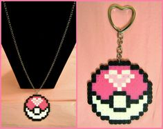 """Love Pokeball NECKLACE or KEYCHAIN // Nickel Free 28"""" Necklace Chain // Heart-Shaped Key Ring // Perler Hama Beads Valentine's Day Gift"""