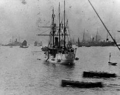 USS Petrel (PG-2) in Hong Kong Harbor before the Spanish-American War, 15 April 1898.