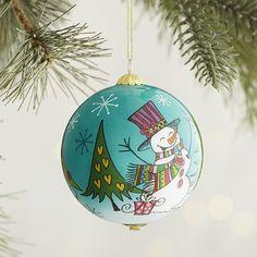 2003 Li Bien Hand Painted Glass Ball Christmas Tree Ornament Santa Sleigh Box