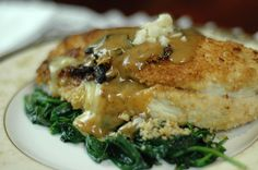 Stuffed Macadamia Crusted Chicken with Sage and Port Cream Sauce ..From the Orgasmic Chef