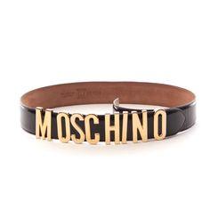 Edler Gürtel von Moschino in Schwarz Gr. 70 cm - aus Lackleder!