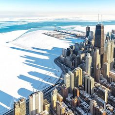 This is one of my #ChicagoBestof2015. It was a frigid day in February and the helicopter cabin wasn't much warmer with icy air pouring in through the photo door's open window. But it was all worth it to see those long winter shadows reaching out over a frozen Lake Michigan.  Head on over to the @choosechicago feed to check out some of the #TakingOverChooseChicago crew's favorite shots. And tag yours with #mychicagopix & #ChicagoBestof2015 for a chance to be featured. by nick_ulivieri