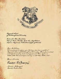 Hogwarts Acceptance Letter- I think I will send one of these to each of my kids on their eleventh birthday.... assuming they know what Harry Potter is by then =D