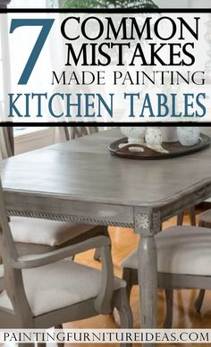 Kitchen tables get hammered over time. Whether you have little kids digging in their forks into the table, or just host many dinners with platters scraping the top, the table gets abused. Eventually, most DIYers think of repainting their kitchen table. Chalk Paint Dining Table, Painted Kitchen Tables, Chalk Paint Kitchen, Kitchen Table Chairs, Refinishing Kitchen Tables, Wooden Kitchen, Refinish Table Top, Painted Oak Table, Distressed Kitchen Tables