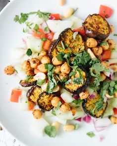 spiced eggplant, chickpea, and cucumber salad