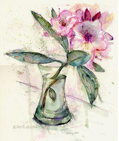Rhododendron, watercolour, Kathy lewis
