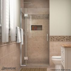"DreamLine D12872 Unidoor-X 72"" High x 34"" Wide Hinged Frameless Shower Enclosure Chrome Showers Shower Doors Hinged"