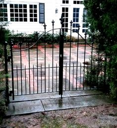 Decorative Double Wrought Iron Walk Gate with fleur de lis finials Wrought Iron Fences, Rail Fence, Garden Gates, Fencing, Ranch, New Homes, Yard, Outdoor Structures, House
