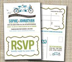 perforated wedding invitation and rsvp  tandem bike!!