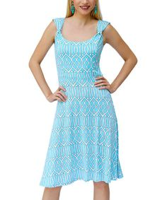 Another great find on #zulily! White & Blue Geometric A-Line Dress #zulilyfinds