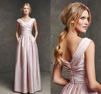 Pink Evening Dresses Short Cap Sleeves V Neck Floor Length With Pleat Vestidos Longos De Festa Gowns Princess Evening Dresses