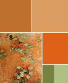 Gustave Caillebotte- Nasturtiums (1892) inspired color palette...