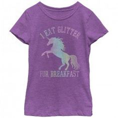 Look at this Fifth Sun Purple Berry 'I Eat Glitter For Breakfast' Tee - Toddler & Girls by Fifth Sun Unicorns And Mermaids, Purple Unicorn, Purple T Shirts, Unicorn Shirt, Comfortable Fashion, Graphic Tees, Glitter, T Shirts For Women, Mens Tops