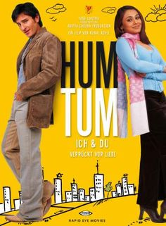 Hum Tum (Hindi: हम तुम, translation: You and Me, Urdu: ہم تم) is a Bollywood movie, released in India on May directed by Kunal Kohli and produced by Aditya Chopra and Yash Chopra. The movie stars Saif Ali Khan and Rani Mukerji in the lead roles. Free Films Online, Hd Movies Online, Saif Ali Khan, New York Times, Best Bollywood Movies, Bollywood Party, Movie Songs, Hindi Movie, Movie Film