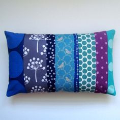 Cool Blues, Contemporary Patchwork Designer Fabric Pillow / Cushion Cover - Unique