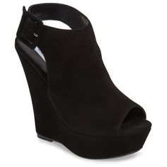 Women's Steve Madden Elvy Wedge Sandal (130 AUD) ❤ liked on Polyvore featuring shoes, sandals, black suede, peep toe wedge shoes, steve madden sandals, black peep toe sandals, black wedge heel sandals and black sandals