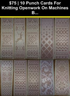Machine Knitting 10 Punch Cards For Knitting Openwork On Machines Brothe. Machine Knitting 10 Punch Cards For Knitting Openwork On Machines Brother, Silver Reed, Sin Brother Knitting Machine, Color Changer, Knitting Machine Patterns, Machine Tools, Card Patterns, Christmas Knitting, Rose Design, Beautiful Patterns, Punch