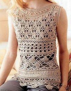 Graficos y Crochet: blusa beige