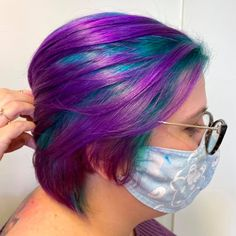 Cecilia loves expressing her creativity with Aveda Vibrants! For our client's root color, Cecilia combined Cobalt, Emerald, Charcoal and Clear, while covering her ends in Iris! Aveda Spa, Aveda Salon, Green Hair, Purple Hair, Aveda Hair Color, Root Color, Salon Services, Mermaid Hair, Rainbow Hair