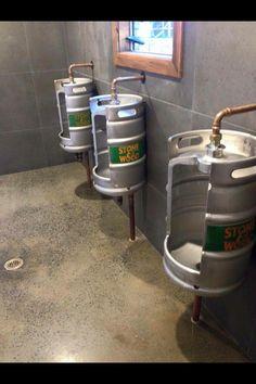 Keg toilet urinals made from old 11 gallon litre) beer kegs. Garage Furniture, Barrel Furniture, Metal Furniture, Diy Furniture, Bar Interior, Restaurant Interior Design, Pub Bar, Cafe Bar, Biker Bar