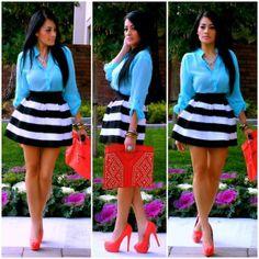 Necessary Clothing Blouse, Chicnova Stripe Skirt, E Bay Clutch, Go Jane Heels, Chicnova Necklace