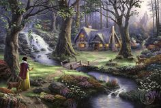 Thomas Kinkade Snow White discovers the cottage art painting for sale; Shop your favorite Thomas Kinkade Snow White discovers the cottage painting on canvas or frame at discount price. Images Disney, Art Disney, Film Disney, Disney Kunst, Disney Movies, Disney Tangled, Magical Paintings, Beautiful Paintings, Oil Paintings