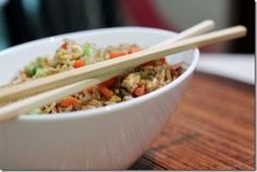 Healthy unfried rice    Ingredients (serves 4)  1 cup dry brown rice  2 tbsp sesame oil (divided)  2 medium carrots, diced  1 cup shelled edamame  2 tbsp soy sauce or liquid aminos  1 fresh egg  salt to taste