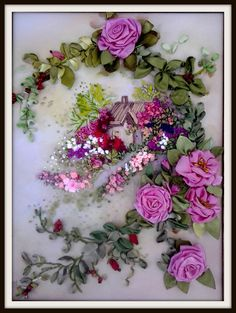 3d Ribbon Embroidery Floral Wall Art Landscape Fiber Textile Picture Living Room Purple Roses Romantic Bedroom Home Wall Decor Wedding Gift