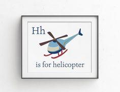 Vintage Helicopter Nursery Decor  Baby Boy by ColorLovePrintCo