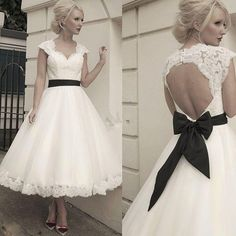 1950's Style Retro Wedding Dresses A Line Sweetheart Cap Sleeve Tea Length Over Skirt Key Hole Back with Detachable Sash Bridal GowDhyz
