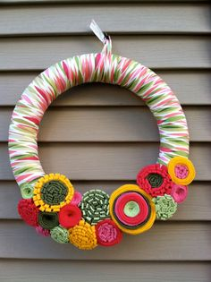 Spring Wreath Patterned Fabric Decorated w/ Felt by stringnthings