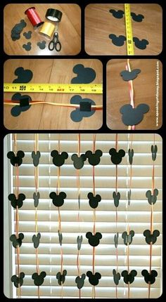 Easy DYI Disney Garland - Decorations for home or hotel room. (use disney paint chip samples from home depot) Easy DYI Disney Garland - Decorations for home or hotel room. (use disney paint chip samples from home depot) Theme Mickey, Mickey Mouse 1st Birthday, Mickey Mouse Clubhouse Party, Mickey Mouse Parties, 2nd Birthday, Birthday Ideas, Mickey Mouse Birthday Decorations, Disney Party Decorations, Disney Window Decoration