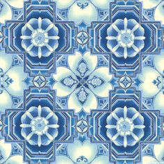 La Scala 7 - Cathedral Mosaic - Delft Blue/Silver. Fabric from eQuilter.com