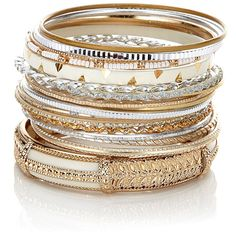 Accessorize 18 x Indian Wow Bangle Set ($23) ❤ liked on Polyvore