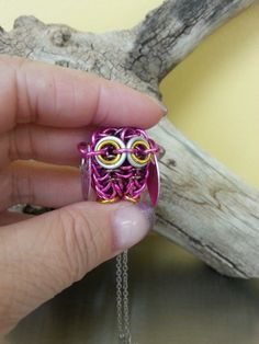 Pink Chainmaille Owl Necklace by Gen3studioS on Etsy, $35.00
