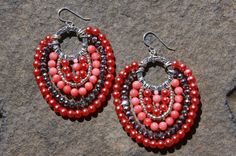 Pink pink coral and silver handmade beaded by WaterlooJewelry, $39.00
