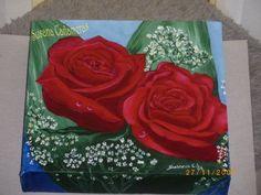 """Título: Rosa Roja.5f Cuadro nº6. Bastidor con Lienzo, Oleo Medidas: 20x20cm. """"La verdadera amistad es una planta de Desarrollo lento"""". (Para Roser)"""