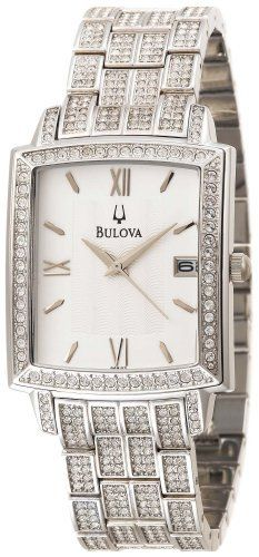Bulova Men's 96B103 Crystal Calendar Watch Bulova. $225.00. Brass case; White dial; Date function. Quality Japanese-Quartz movement. Mineral crystal. Water-resistant to 99 feet (30 M). Case diameter: 34 mm. Save 59%!