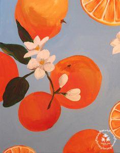 Items similar to Orange Blossom on Etsy Bee Creative, Citrus Fruits, Orange Blossom, Illustration Art, Wallpaper, Unique Jewelry, Handmade Gifts, Pattern, Painting