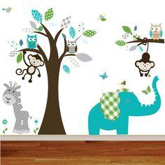 Giraffe,elephant,monkey nursery wall decal sticker vinyl tree and branch jungle decals. $150.00, via Etsy.