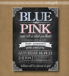 chalkboard gender reveal party invitation, PRINTABLE #chalkboard #genderreveal #invitation