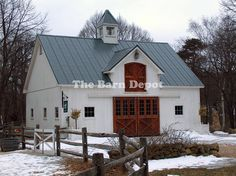 This barn would be a cute house. Nix the top thingy, use one door instead of two(wood color), Bring a lower small  peak out over the front door, make windows larger and add shudders, metal siding.