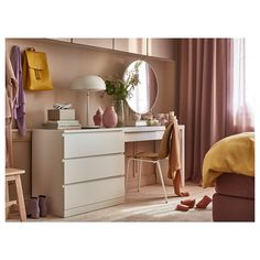 MALM Dressing table, white, 47 It's really a dressing table – with space for makeup and jewelry inside. But, works just as well as a desk, a place to unload keys or mail in the entrance or to pile magazines behind the couch. Ikea Malm Dressing Table, White Dressing Tables, Ikea Malm Table, Dressing Table And Chest Of Drawers, Ikea Vanity Table, Dressing Table Design, Dressing Table Set, Vanity Desk, Painted Drawers