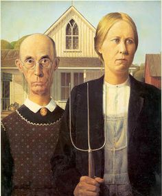 Shop Grant Wood - American Gothic Poster created by Amazing_Posters. Personalize it with photos & text or purchase as is! American Gothic Painting, American Gothic House, Grant Wood American Gothic, American Gothic Parody, American Art, American Literature, Space Ghost, Most Famous Paintings, Famous Artwork