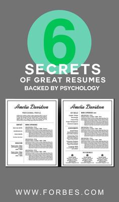 Forbes article by Jon Youshaei 6 Secrets of Great Resumes, Backed By Psychology Brought to you by Resume Foundry - professional resume templates www.etsy.com/...
