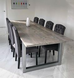 We make all our industrial furniture by hand for each customer. Using reclaimed timber and steel to create a great looking blend between new and old. 10 Seater Dining Table, Hairpin Dining Table, Reclaimed Dining Table, Large Dining Room Table, Steel Dining Table, Industrial Dining, Oak Table, Solid Wood Dining Table, Modern Dining Table