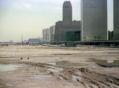Battery Park City landfill, NY Telephone Company, abandoned West Side Highway and the World Trade Center. 1974 New York