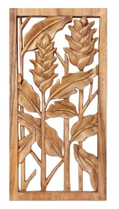 Floral Balinese Relief Panel Hand Carved Wall Sculpture - Balinese Heliconia | NOVICA