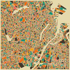 Copenhagen Map Poster By Jazzberry Blue
